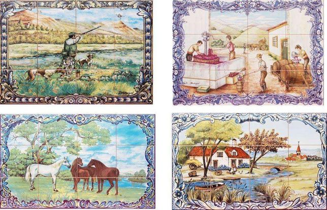 Painéis de Azulejos Adega Quinta Vindimas Apanha Uvas Paisagem Rural