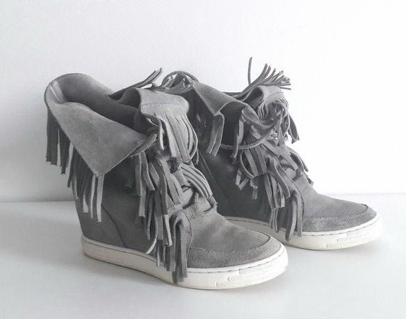 Sneakersy frędzle skóra 38