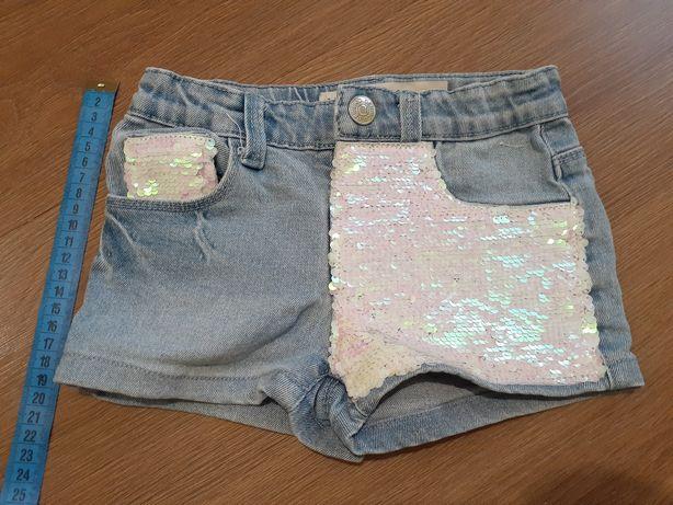 Шорты джинсовые с пайетками. 3-4 года.