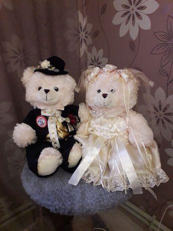 Мишки пара для свадьбы торжества плюшевые игрушечные