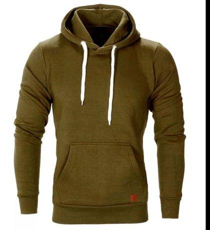 Ciepła, miękka i przytulna bluza męska Khaki wojskowa zielona M