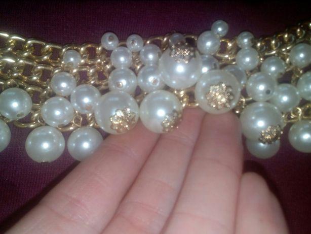 Naszyjnik perły wisiorek kolia zlota koraliki perełki