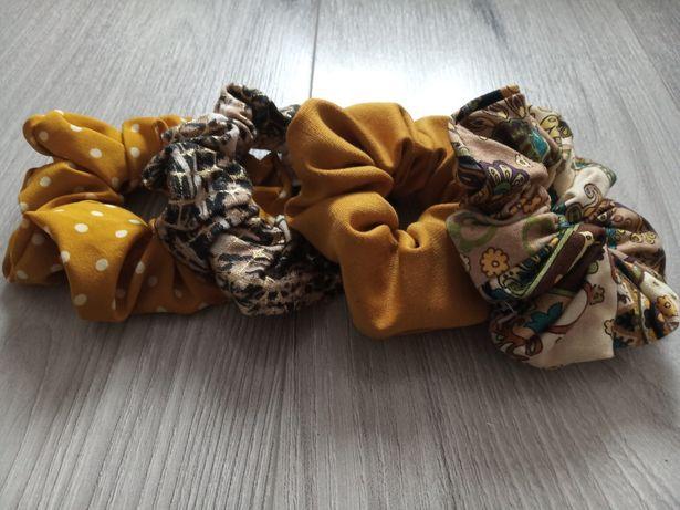 Zestaw 4 gumek scrunchie frotki owijki kolekcja hobby scrunchies