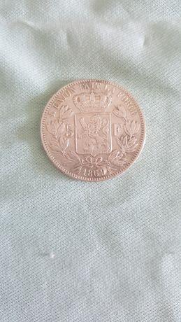 Moeda 5 Francos Bélgica 1869
