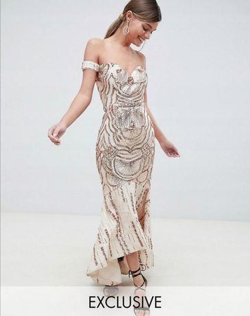 Asos bariano sukienka na wesele złota zdobienia piękna NOWA