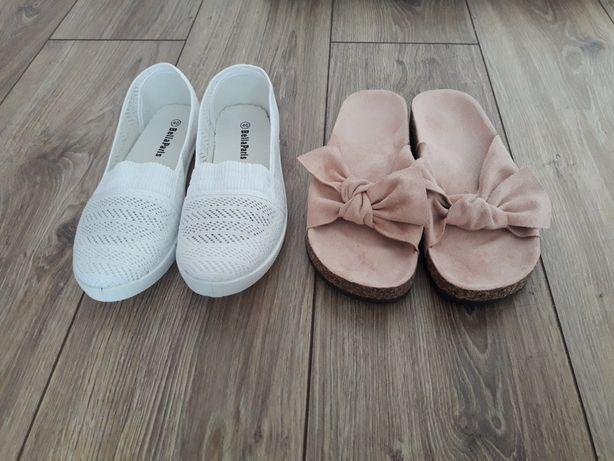 NOWE buty klapki pudrowy róż tenisówki slip on białe