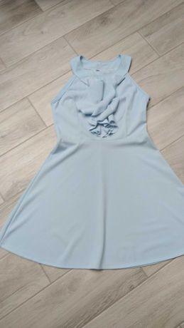 Rozkloszowana sukienka falbany 38/40 nowa pastelowy niebieski