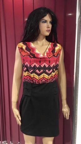 Sukienka - ciepłe kolory - wzory - M/L