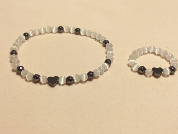 komplet biżuterii bransoletka pierścionek kamienie naturalne kocie oko