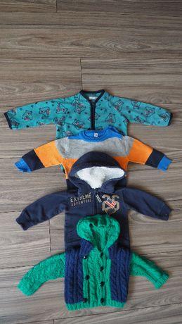 Zestaw sweterki chłopięce bluza sweterek dziergany szydełko 62-68
