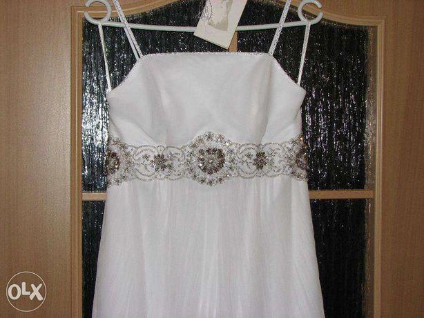 OKAZJA Śliczna, kobieca suknia ślubna, rozm.38, wzrost170+welon gratis
