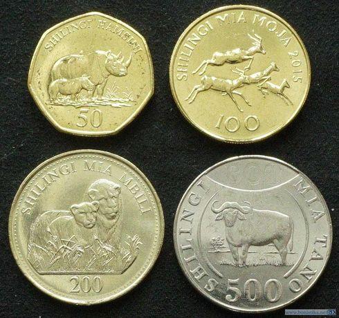 Набор монет 50, 100, 200, 500 шиллингов 2015 Танзания