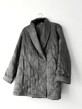 Kurtka kimono pikowana oversize srebrna szara vintage retro XS S M L