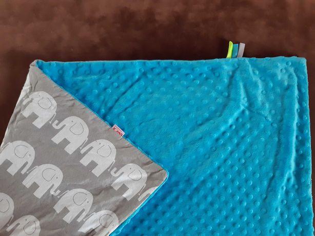 Kocyk minky 73x90 cm Niebieski ze slonikami