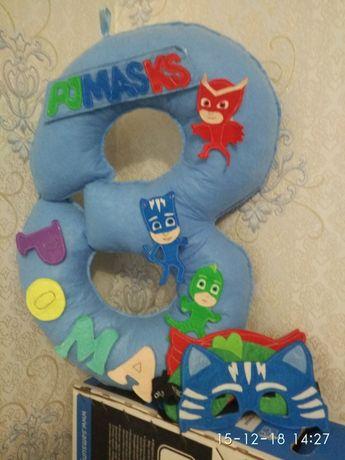 Цифра три на день рождения и маски - комплект( Герои в масках)