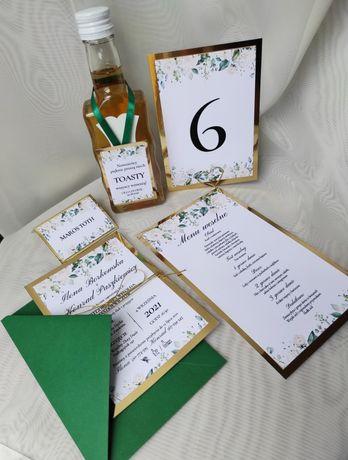 Zaproszenie na ślub winietki zawieszki menu kwiaty glamour