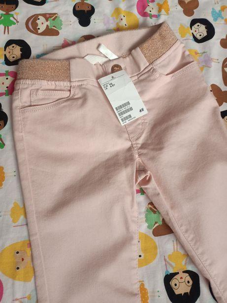 H&M spodnie pudrowy róż z pasem z brokatu 110