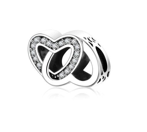 Charms na szczęście talizman złączone serca do bransoletki Pandora 925