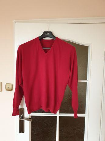 Sweterek 100% kaszmir malinowa czerwien