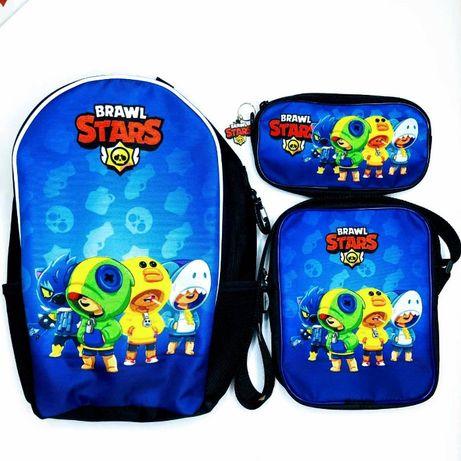 Набір: рюкзак шкільний, сумка та пенал 4 Леони Бравл Старс Brawl Stars