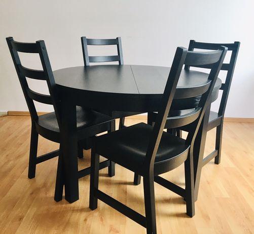 Ikea stol okragly rozkladany + 4 krzesla