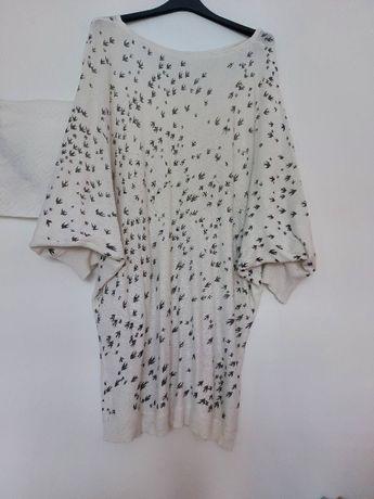 Sweter Tunika r XL (42) Nietoperz Biały Oversize Sweterek