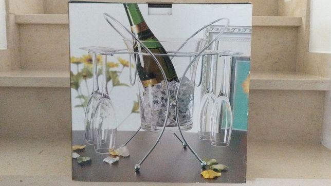 Conjunto Champagne 6 Peças - Frapé e 4 Flutes com Suporte