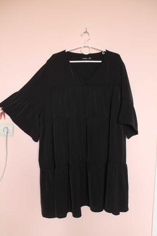 Чёрная шифоновая блуза-туника, блузка, блузон, туника, платье 62-64 р.