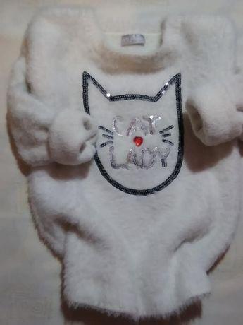 """Пушистый свитер свитшот """"lady cat"""" 8-9 лет (128-134 см)"""