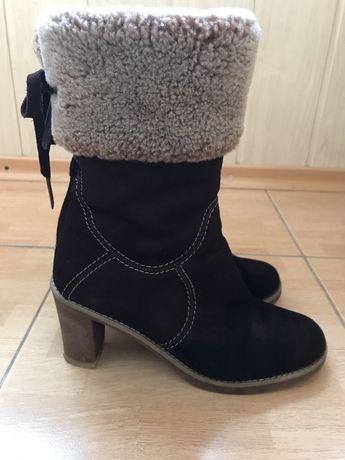 Зимние сапоги на каблуке (нат. замш/цигейка) Italy 38 р-р