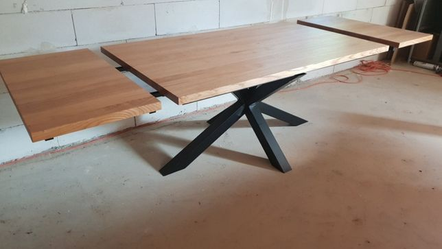 Stół debowy 280 cm x 90 cm rozkładany nogi pająk Loft industrial Nowy
