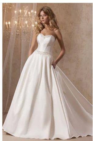 Suknia ślubna 36/181cm klasyczna, satyna ecri