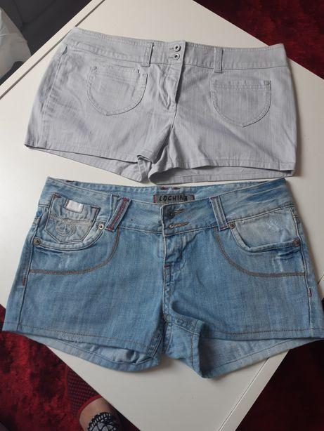 Nowe krótkie spodenki damskie jeans r.36-38 zestaw 2 sztuki