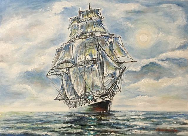 """Картина маслом """"Парусник.Морской пейзаж"""",художник Обертас Ю.А"""