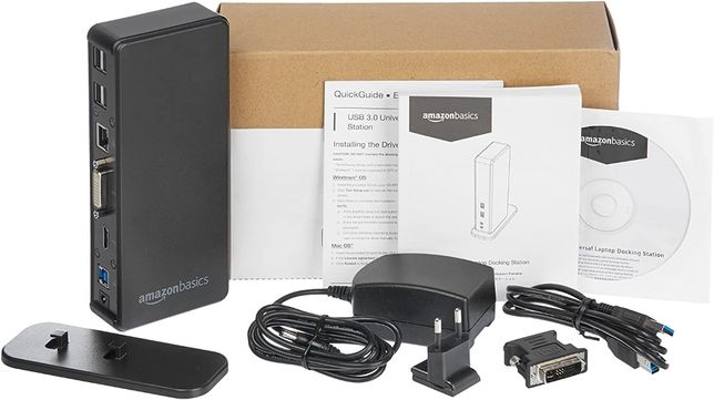 Amazon Basics - stacja dokująca do laptopa, model uniwersalny, USB 3.0