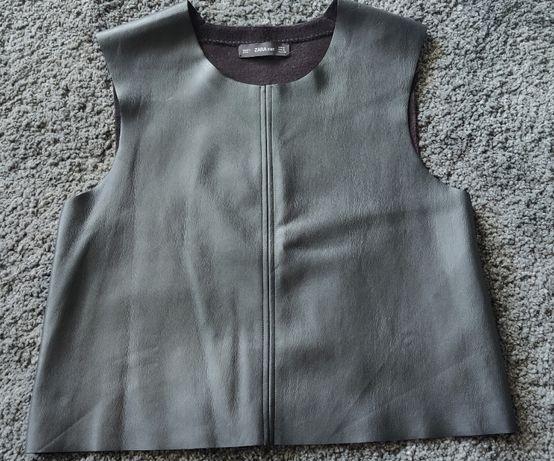ZARA S skórzana czarna kamizelka bluzka