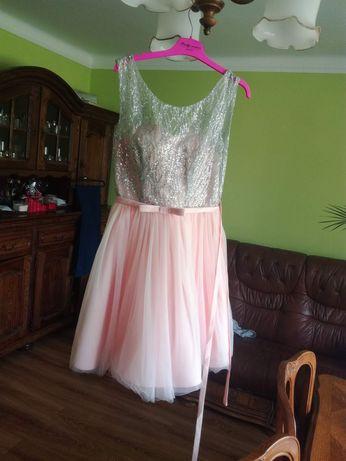 Sukienka róż wesele tiul rozmiar regulowany s m l xl