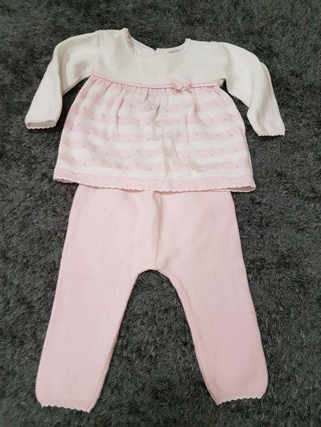 Conjunto rosa clarinho e branco da Mayoral. 4-6 Meses