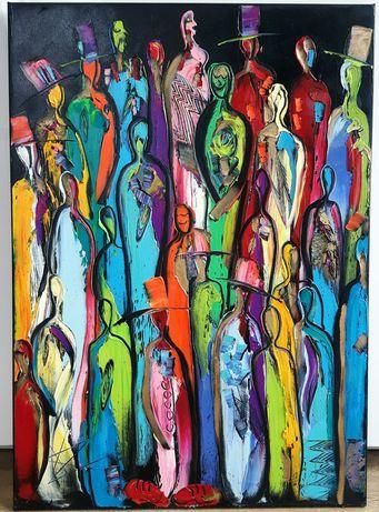 LUDZIE abstrakcja obraz olejny 50x70 KatarzynaArt