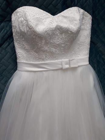 Suknia ślubna 2 w 1 + dodatki