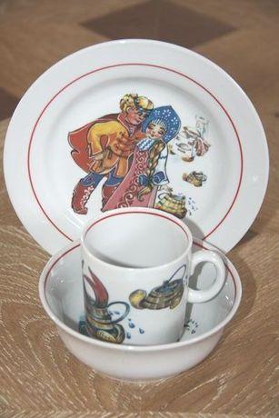 Фарфор трио детской посуды По - щучьему велению чашка тарелка