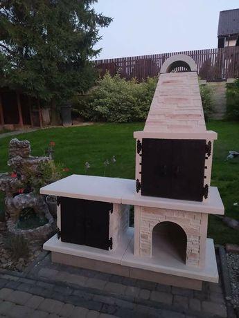 DUŻY 185x160x65cm Grill Wędzarnia Kominek betonowy zbrojony PROMOCJA