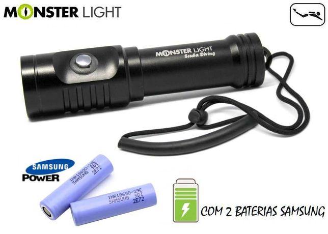 Kit lanterna mergulho Monster Light Impact 400 com 2 baterias Samsung