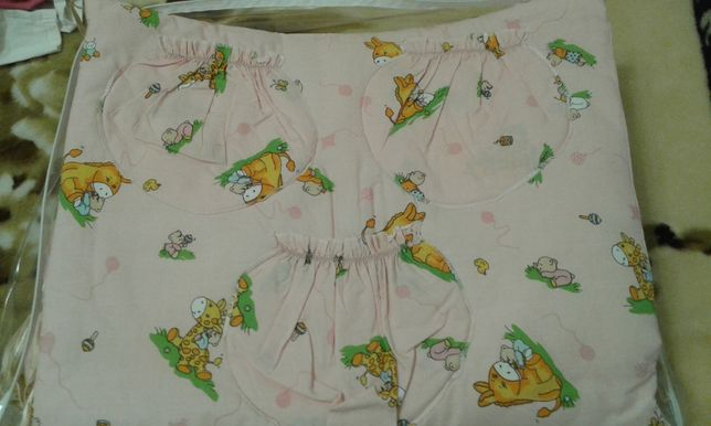 Защита для кроватки+подушка+одеяло+простынь на резинках+карман
