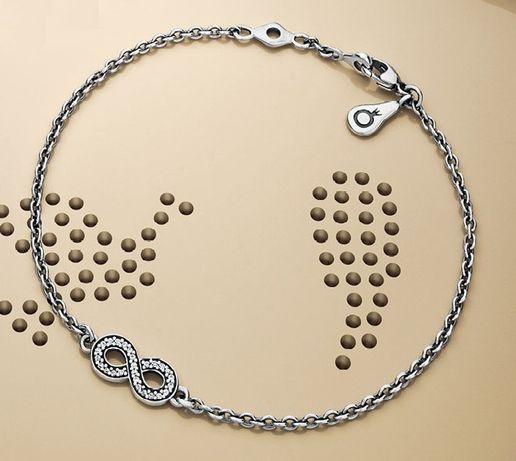 Pandora - oryginalna, srebrna bransoletka, nieskończoność z cyrkoniami