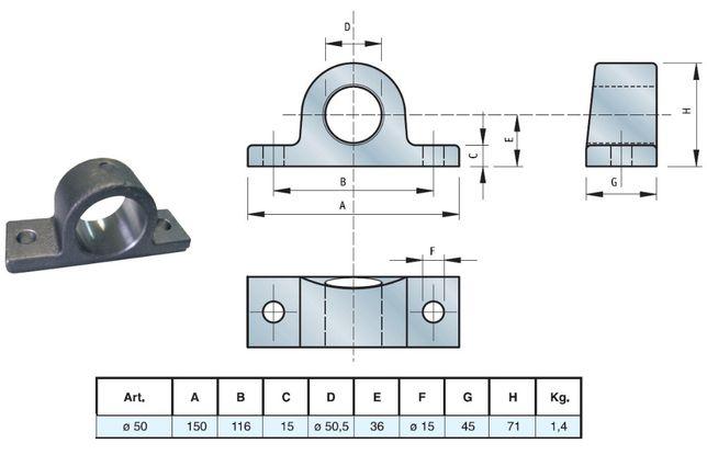 Mocowanie siłownika kołyski fi 50 mm Fak. VAT