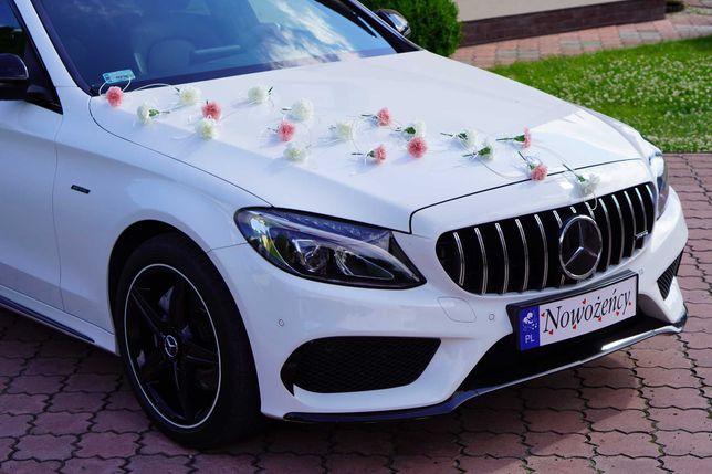 Auto/samochód do ślubu - BIAŁY MERCEDES C200 4 MATIC – pakiet AMG