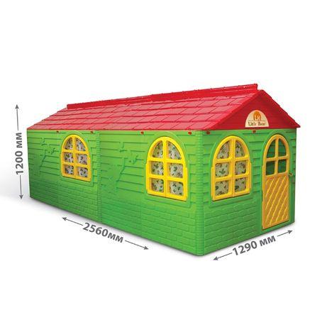 Największy domek ogrodowy XL z okiennicami, karniszami i zasłonami