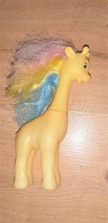 Żyrafka PRL z włosami tęczowe włosy grzywa little pony vintage