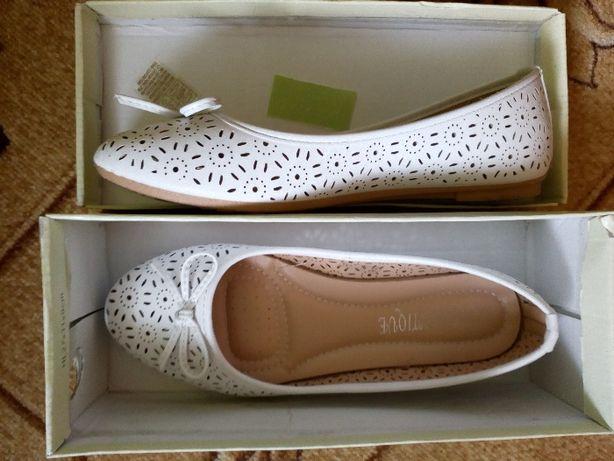 Buty Damskie Baleriny białe.